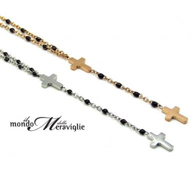 Collana rosario croce oro rosa