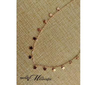 Collana acciaio con stelline oro rosa