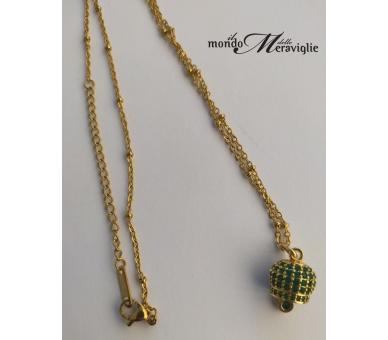 """Collanina """"campanella"""" cristalli verdi su oro giallo"""