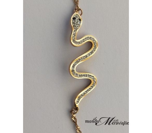Bracciale in acciaio serpente coloro oro rosa o bianco