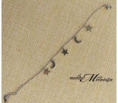 Bracciale in acciaio con stelline e mezzaluna